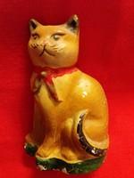 Antik népi kerámia persely a múlt század elejéről  Macska cica figura  16 X 11 cm 3