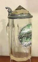 Füred régi látképével üveg korsó
