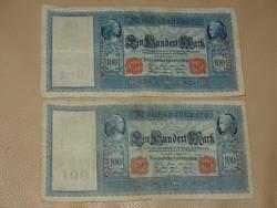 NÉMETORSZÁG 100 MÁRKA 1910   2 DB.!!!