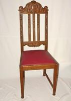 Antik tölgyfa faragott szék kárpitozott