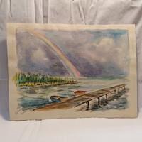 Jelzett akvarell festmény vízpart stég szívárvény