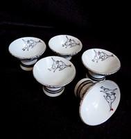 Japán porcelán szakés poharak madaras mintával (mandzsu darvakkal)