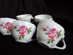 Aquincum mokkás csészék rózsa dekorral