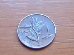 TÖRÖKORSZÁG 1 KURUS 1964 1.0 g,14 mm OLÍVA #