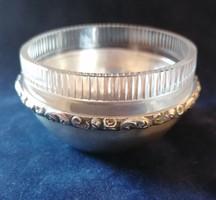 Ezüst mogyorós tálka, eredeti üvegbetéttel.