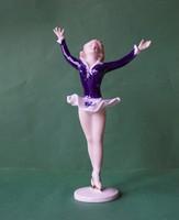 Ritka kobaltkék ruhás Wallendorf német porcelán jégtáncos balerina lány hölgy talpazatán szignált