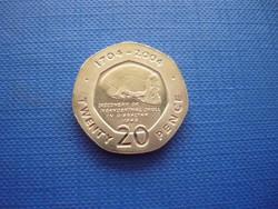 GIBRALTÁR 20 PENCE 2004 300.ÉVORDULÓ NEANDER-VÖLGYI KOPONYA RITKA!