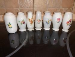 7 db. mini váza, Hollóházi porcelán, 5 cm. GYŰJTŐI