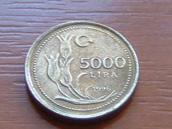 TÖRÖKORSZÁG 5000 LÍRA 1996 5,98 g, 19,5 mm TULIPÁN #