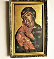 Rendkívül nagyméretű ikon, a Vlagyimiri Istenanya, fatáblára kézzel festett, keretben, tokozva