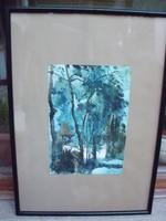 EREDETI  Ágoston Vencel akvarell  FESTMÉNY kép kiállítva a NEMZETI SZALONBAN