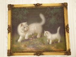 Boleradszky Benő Fehér cicás festménye