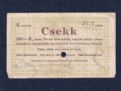 Magyarország Csekk 50 Koronáról 1919 Pápa szükségpénz E sorozat 1919 / id 16642/