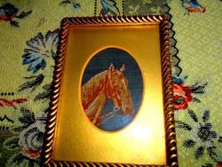 -Antik  tűgobelin-lóportré (nagyon apró kézi gobelin) kép keretezett szép kézműves munka