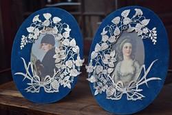 Szecessziós asztali fénykép képkeret páros réz és zinn vegyesen ötvösremek kézműves munka