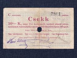Magyarország Csekk 10 Koronáról 1919 Pápa szükségpénz C sorozat 1919 / id 16635/