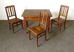 0Y982 Antik étkezőasztal parasztasztal 3 székkel