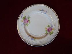 Hollóházi porcelán süteményes tányér, rózsa mintás, átmérője 18 cm.