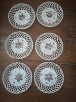 6 db FISCHER EMIL BUDAPEST áttört szélű virágos porcelán gyümölcs kináló készlet