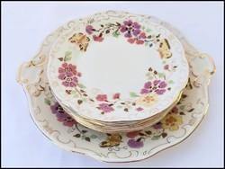 Zsolnay porcelán pillangós süteményes készlet