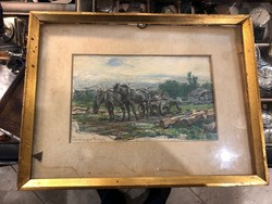 Lohinger Hugó festménye egy lovasszekérről, gyönyörű munka.