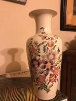 Zsolnay nagyméretű díszváza gyönyörű és ritka virágdekorral-kiváló állapotban!