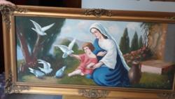 Antik   szent  festmény   olaj  136  68   széles