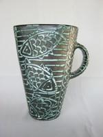 Gorka kerámia halas díszítésű váza