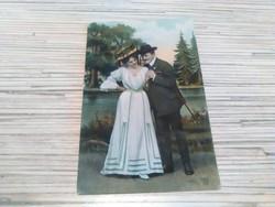 Antik képeslap Szerelmes pár! (1908).