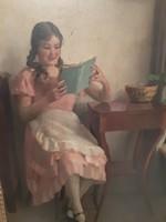 Festmény  Pap Emil olvasó hölgy
