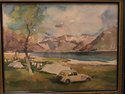 Éless István, Kemping akvarell 47 X 37 fekvő!