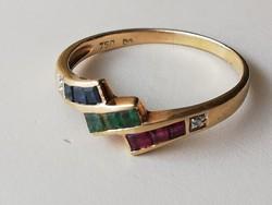 Arany 18 karátos gyűrű. Kis rubinokkal, smaragdal, zafirokkal és ici pici gyémánttal