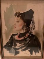 Éless István, Fekete ruhás hölgy akvarell 32,5 X 43 cm álló!