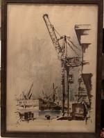 Éless István, Építkezés akvarell 45 X 63 cm álló!