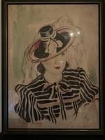 Éless István, Csíkos ruhás hölgy akvarell 46 X 62 cm álló!