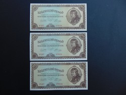 3 darab 100 millió pengő 1946 Sorszámkövető Hajtatlan bankjegyek !