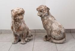 Kőből faragott tigris pár, kültéri szobor pár