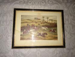 Kis lovas kép, régi nyomat, Aylesbury völgyi akadályverseny, antique print, picture