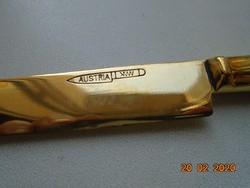 1920 Osztrák jelzett polírozott 2 db réz gyümölcs kés, csavart mintás tömör fogóval
