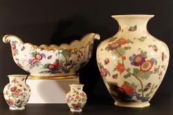 1920 Thomas Bavaria Asztalközép és Vázák Aranyozott Madaras Virágos Rosenthal Porcelán Kínáló Ivory