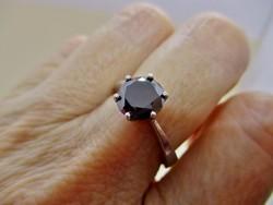 Csodás valódi 2.1ct fekete Moissanite gyémánt ezüstgyűrű