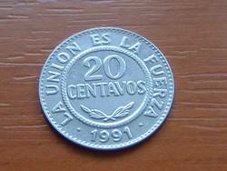 BOLÍVIA 20 CENTAVOS 1991 (MADRID) #