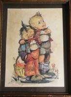 Gedő Lipót (1887 - 1952) : Barátok. Akvarell papír. Mérete:34x26 cm.
