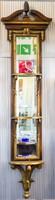Faragott fa fali tükör pár aranyozással, csiszolt üveggel