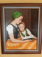 Anya gyermekével 62x51 cm szignós feytmény