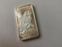 Heraus(svájc) ezüst lap-31,1 gramm 0,999 macskabagoly,gyönyörű darab