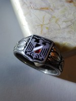 Világháborús német zománcos ezüst gyűrű, patrióta gyűrű, Patriotischer Fingerring 1914 - 1916 Silber