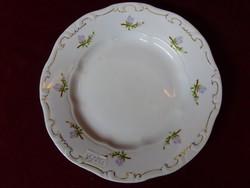 Zsolnay porcelán süteményes tányér, lila virágmintás, átmérője 19 cm.