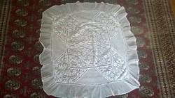 Klöpli-tüll terítő ritka kombináció 30-as évek, 87x82 cm