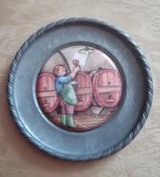 Porcelán? betétes ón tálka,  11 cm